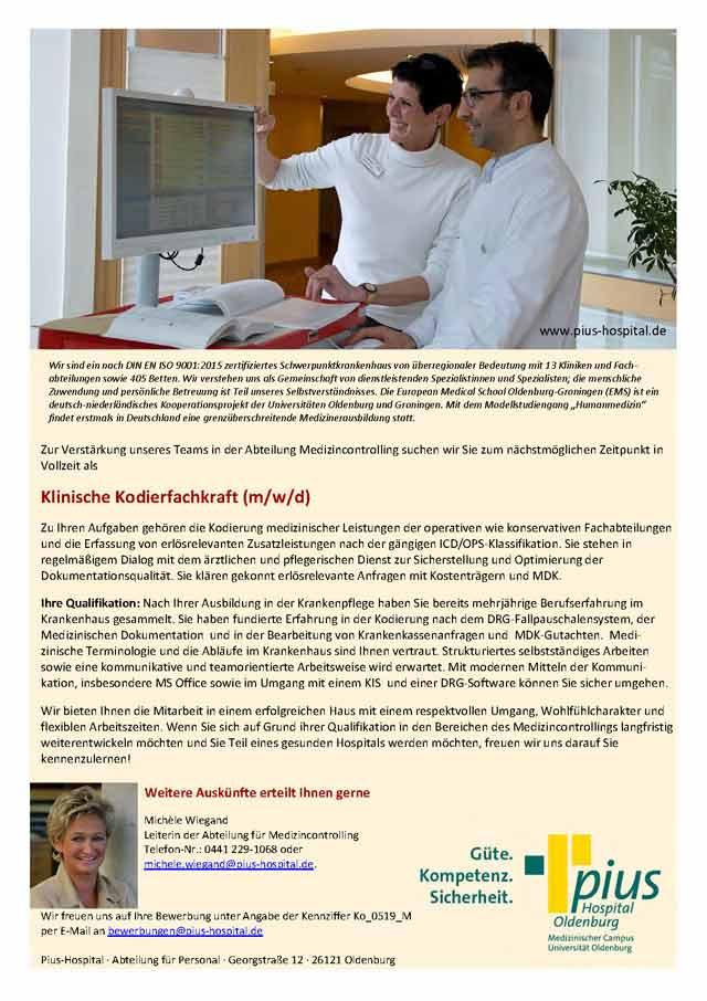 Pius-Hospital Oldenburg: Klinische Kodierfachkraft (m/w/d)