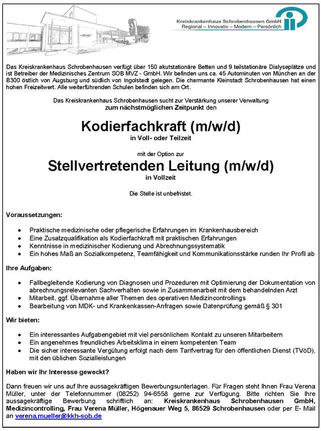 Kreiskrankenhaus Schrobenhausen GmbH: Kodierfachkraft (m/w/d)