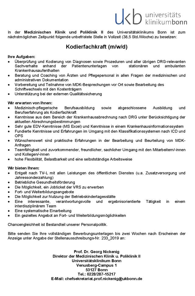 Universitätsklinikum Bonn: Kodierfachkraft  (m/w/d)