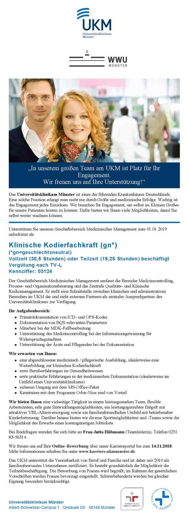Universitätsklinikum Münster: Klinische Kodierfachkraft (geschlechtsneutral)