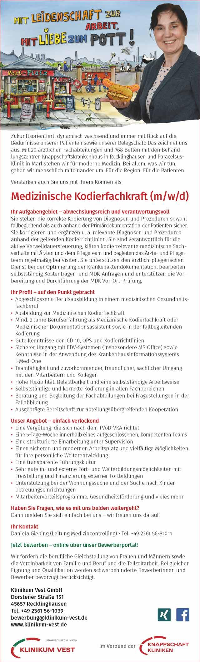 Klinikum Vest GmbH Recklinghausen: Medizinische Kodierfachkraft (m/w/d)