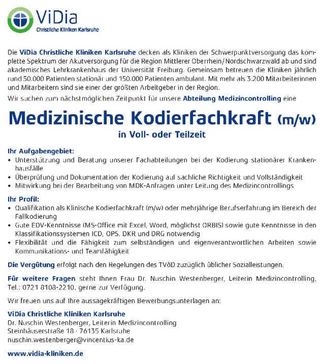 ViDia Christliche Kliniken Karlsruhe: Medizinische Kodierfachkraft (m/w)
