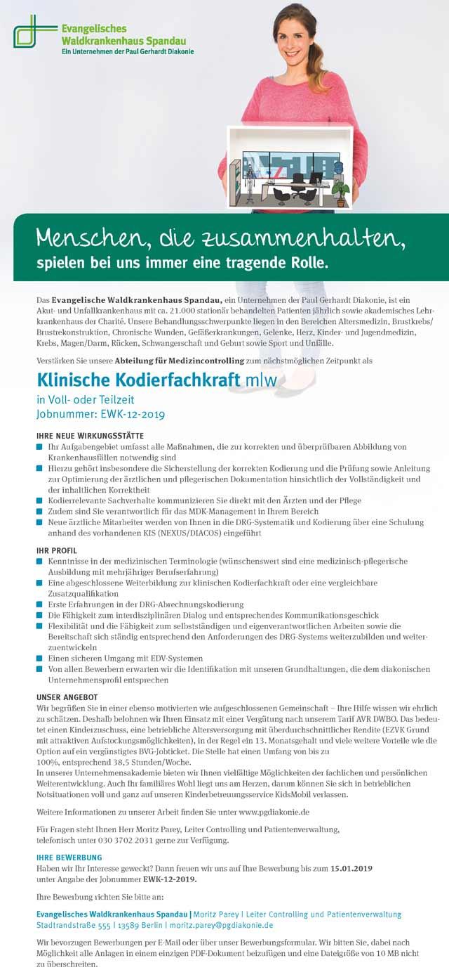 Ev. Waldkrankenhaus Spandau: Klinische Kodierfachkraft (m/w)