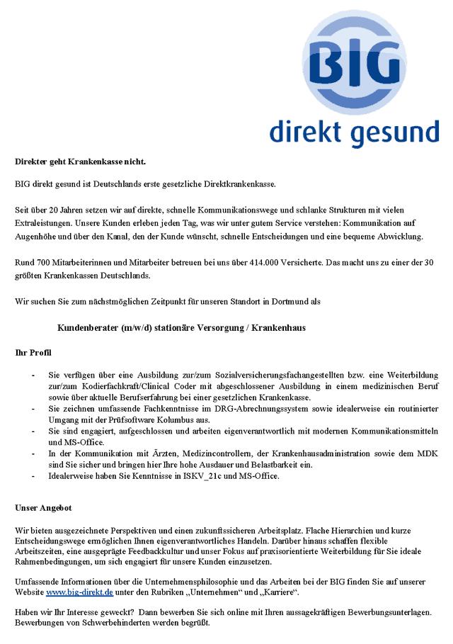 BIG direkt gesund Krankenkasse, Dortmund: Kundenberater stationäre Versorgung / Krankenhaus (m/w/d)