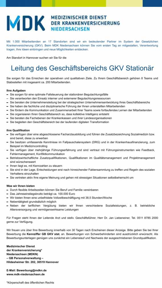 MDK Niedersachsen: Leitung des Geschäftsbereichs GKV Stationär (m/w/d)