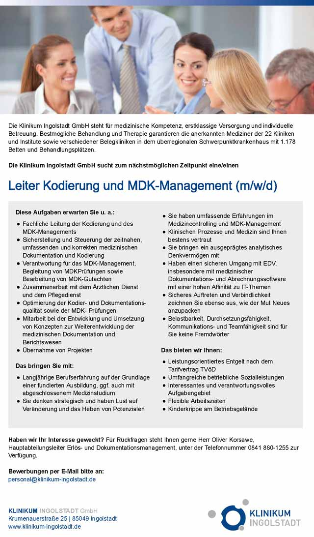 Klinikum Ingolstadt: Leiter Kodierung und MDK-Management (m/w/d)