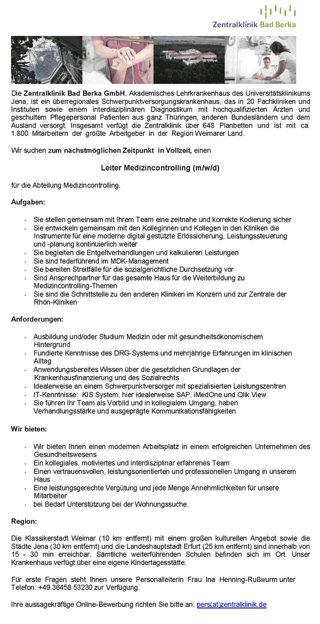 Zentralklinik Bad Berka GmbH: Leiter Medizincontrolling (m/w/d)