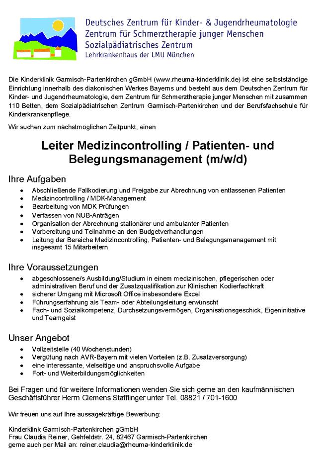 Kinderklink Garmisch-Partenkirchen gGmbH: Leitung Medizincontrolling / Patienten- und Belegungsmanagement (m/w/d)
