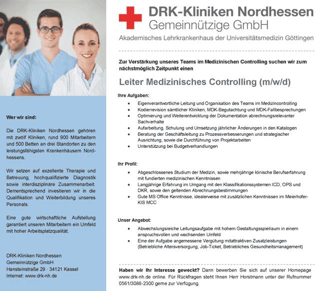 DRK-Kliniken Nordhessen Kassel: Leiter Medizinisches Controlling (m/w/d)