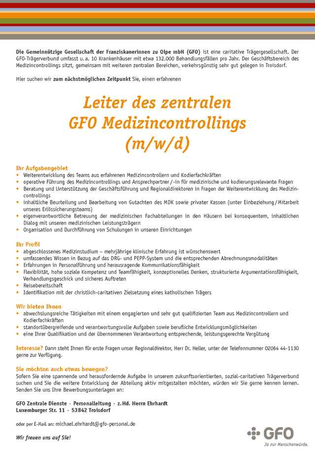 Gemeinnützige Gesellschaft der Franziskanerinnen zu Olpe mbH (GFO): Leiter des zentralen GFO Medizincontrollings (m/w/d)