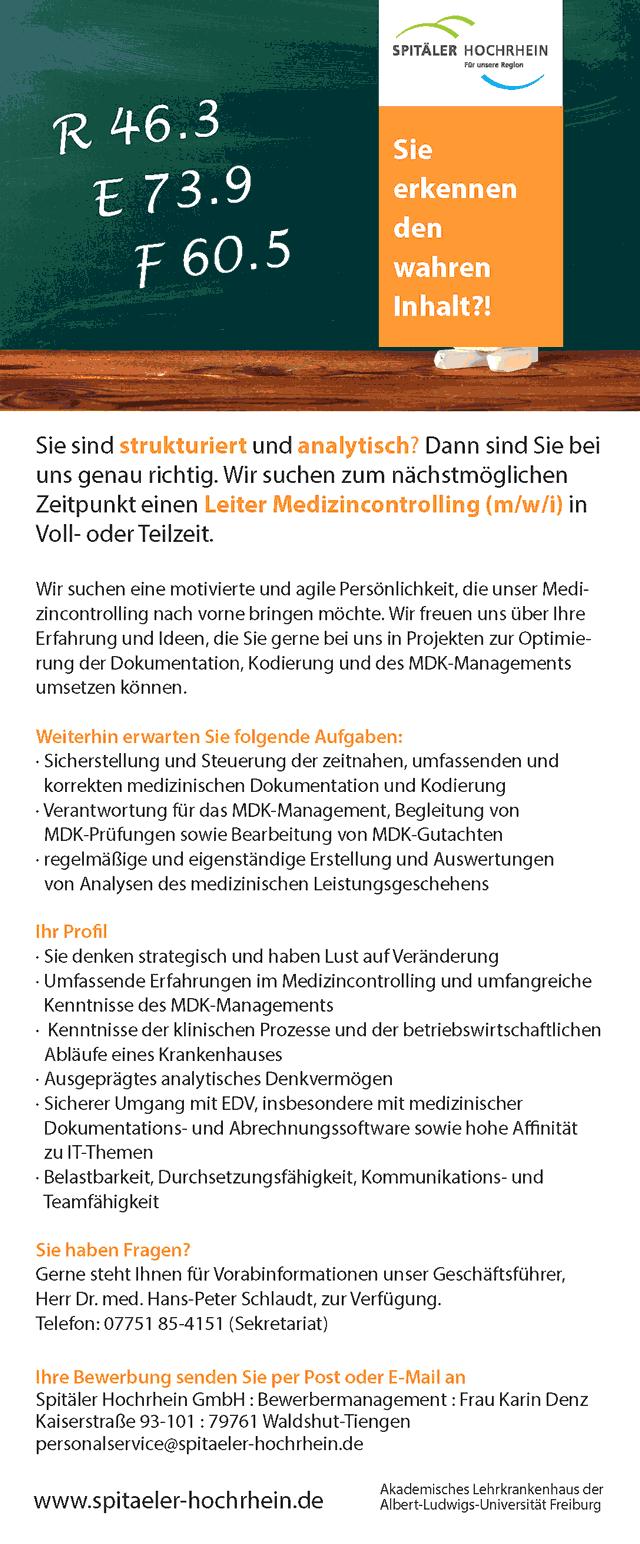 Spitäler Hochrhein GmbH, Waldshut-Tiengen: Leiter Medizincontrolling (m/w/i)
