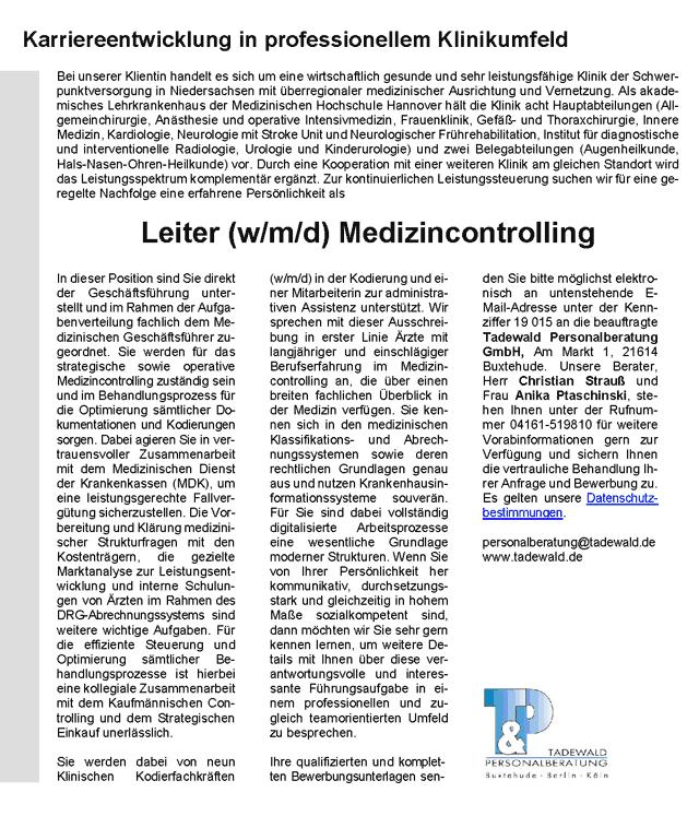 Tadewald Personalberatung GmbH: Leitung Medizincontrolling (w/m/d)
