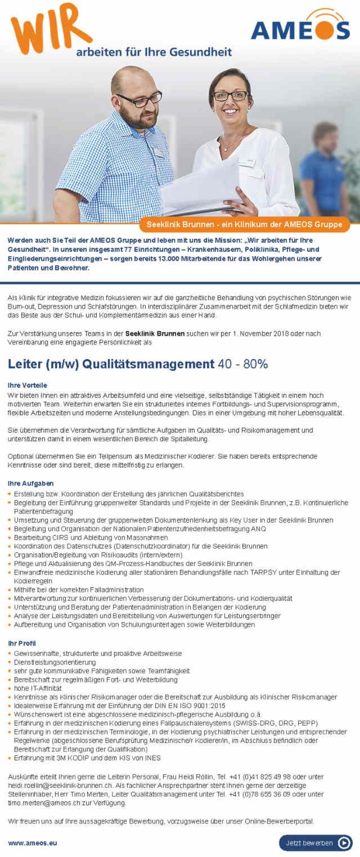 AMEOS Seeklinik Brunnen, Schweiz: Leitung Qualitätsmanagement (m/w)