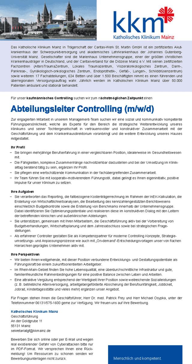Katholisches Klinikum Mainz: Abteilungsleiter Controlling (m/w/d)