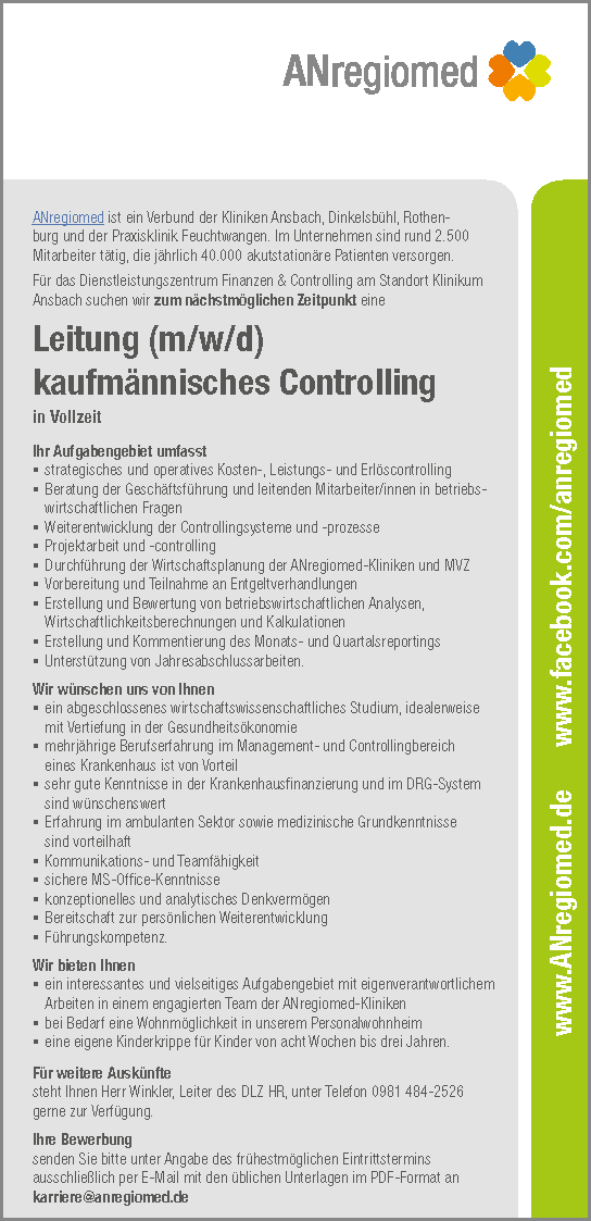 ANregiomed Ansbach: Leitung kaufmännisches Controlling (m/w/d)