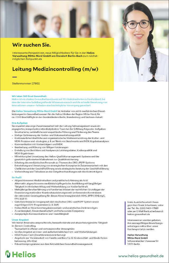 Helios Verwaltung Mitte-Nord GmbH, Berlin: Leitung Medizincontrolling (m/w)