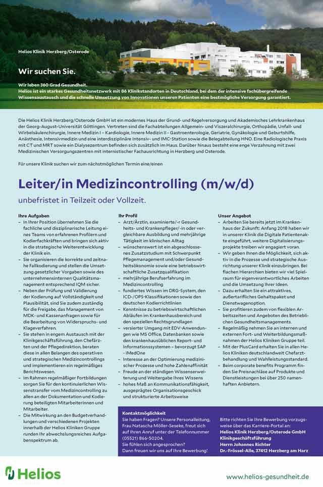 Helios Klinik Herzberg / Osterode GmbH: Leitung Medizincontrolling (m/w/d)