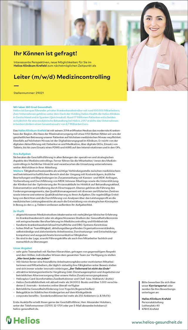 Helios Klinikum Krefeld: Leiter Medizincontrolling (m/w/d)