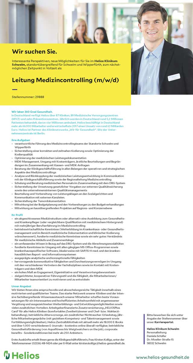 Helios Klinikum Schwelm: Leitung Medizincontrolling (m/w/d)