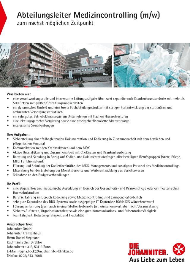 Johanniter Krankenhaus Bonn: Abteilungsleiter Medizincontrolling (m/w)