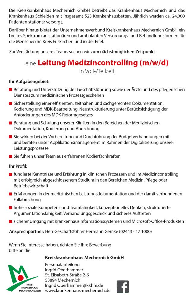 Kreiskrankenhaus Mechernich GmbH: Leitung Medizincontrolling (m/w/d)