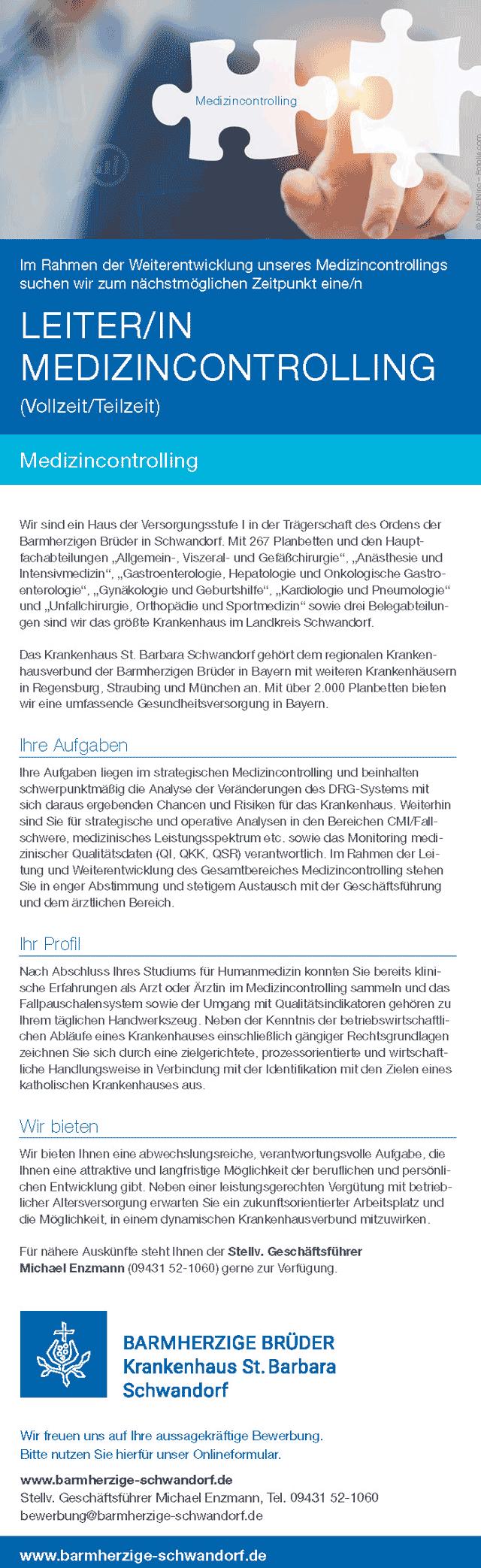 Krankenhaus St. Barbara Schwandorf: Leitung Medizincontrolling (w/m)