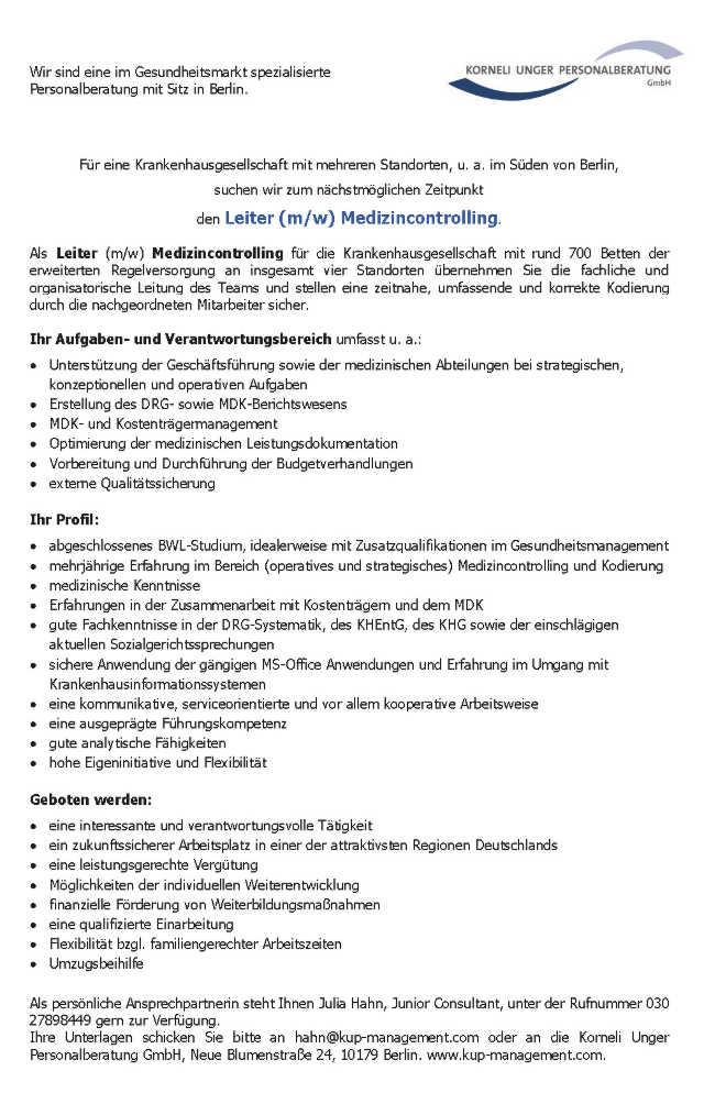 Korneli Unger Personalberatung GmbH Berlin: Leiter Medizincontrolling (m/w)
