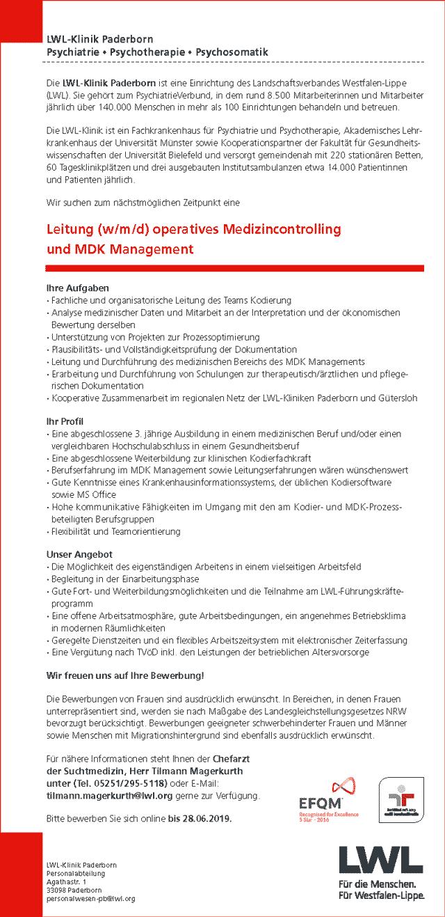 LWL-Klinik Paderborn: Leitung operatives Medizincontrolling und MDK Management (w/m/d)