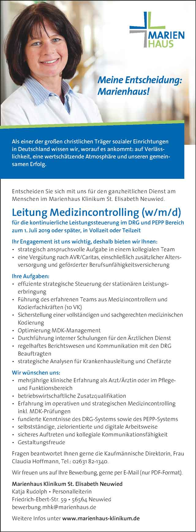 Marienhaus Klinikum St. Elisabeth Neuwied: Leitung Medizincontrolling (w/m/d)