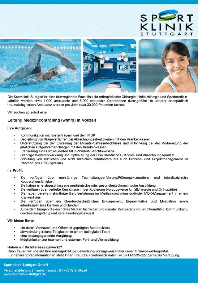 Sportklinik Stuttgart GmbH: Leitung Medizincontrolling (w/m/d)