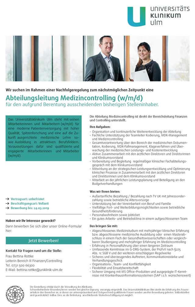 Universitätsklinikum Ulm: Abteilungsleitung Medizincontrolling (w/m/d)