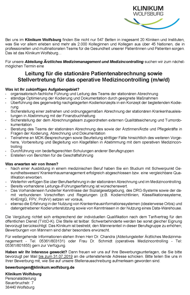 Klinikum Wolfsburg: Leitung stationäre Patientenabrechnung und Stellvertretung operatives Medizincontrolling (m/w/d)