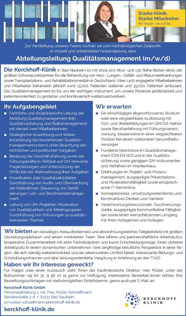 KerckhoffKlinik GmbH, Bad Nauheim: Abteilungsleitung Qualitätsmanagement (m/w/d)
