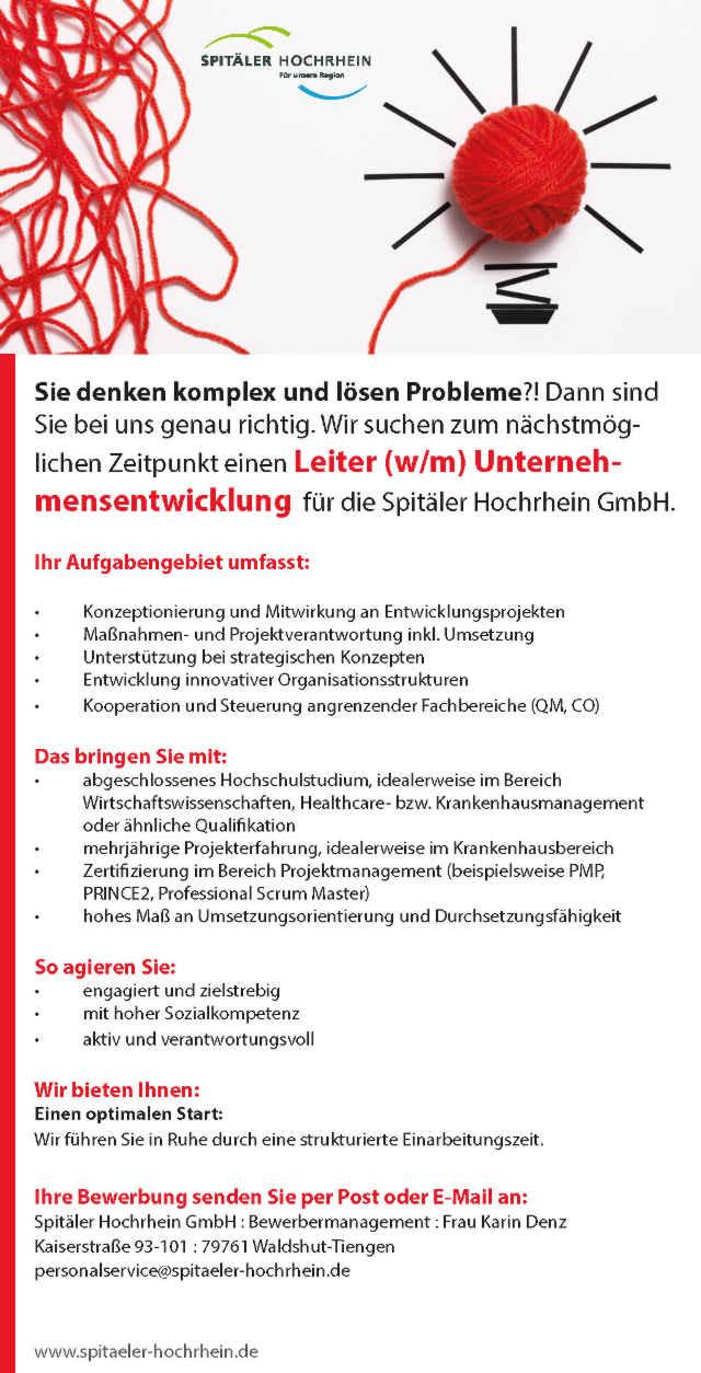 Spitäler Hochrhein GmbH: Leiter Unternehmensentwicklung (w/m)