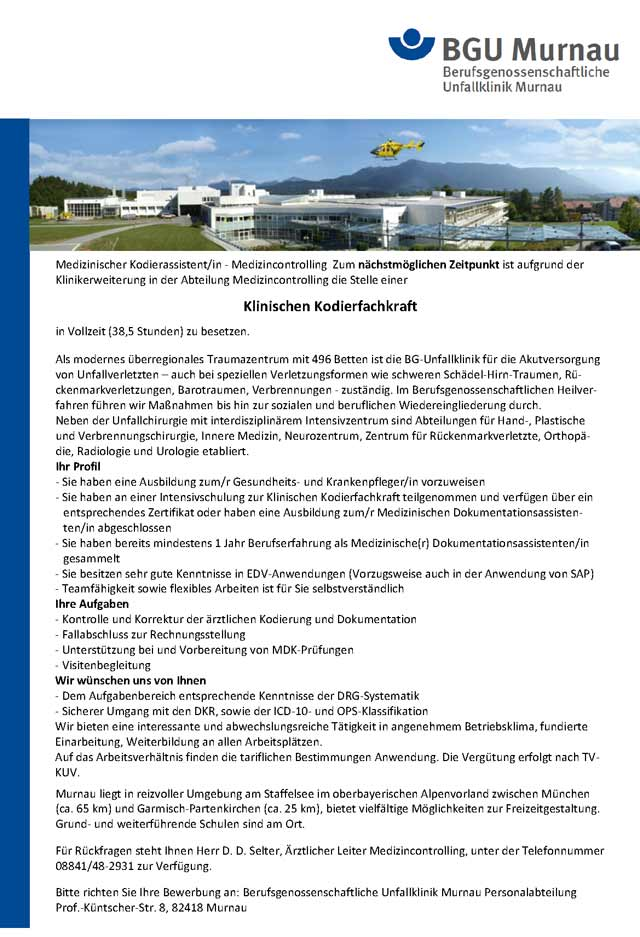 BG Unfallklinik Murnau: Klinische Kodierfachkraft (m/w/d)