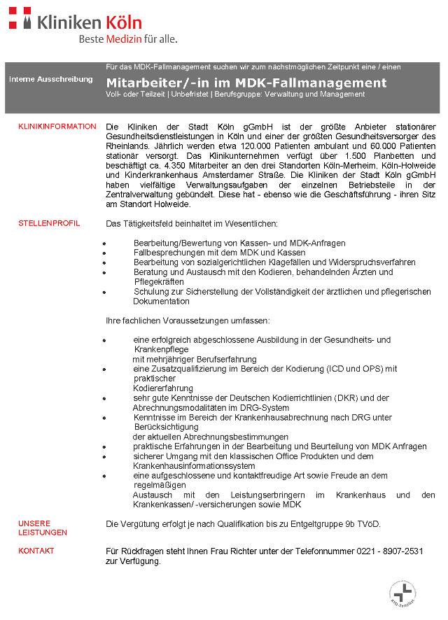 Kliniken der Stadt Köln gGmbH: Mitarbeiter MDK-Fallmanagement (m/w)