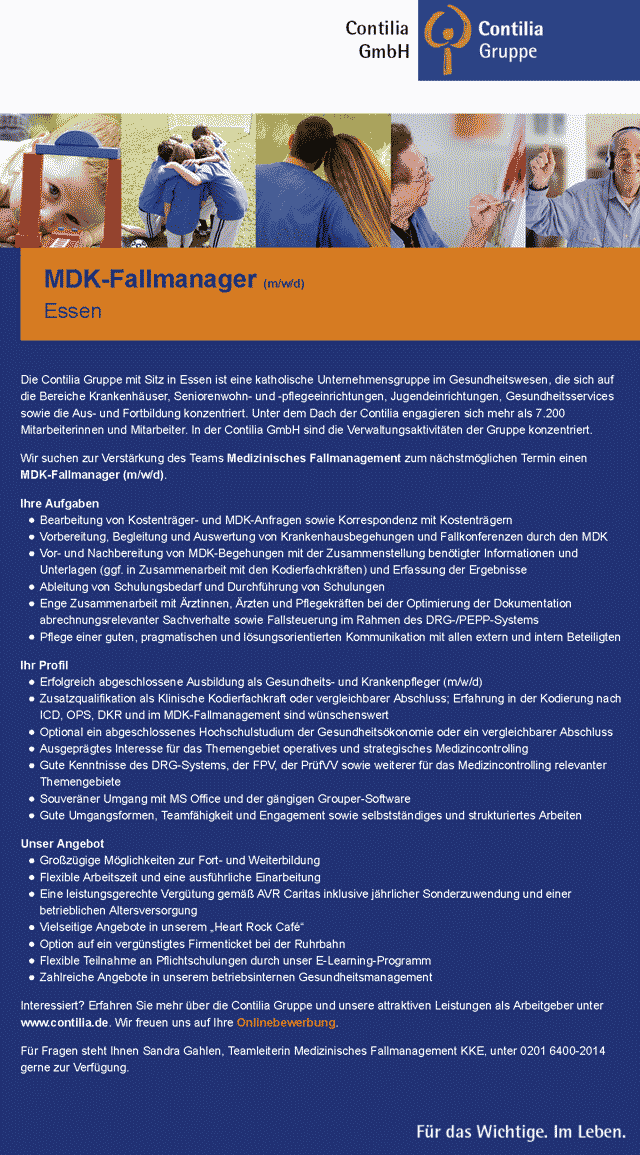 Contilia GmbH Essen: MDK-Fallmanager (m/w/d)