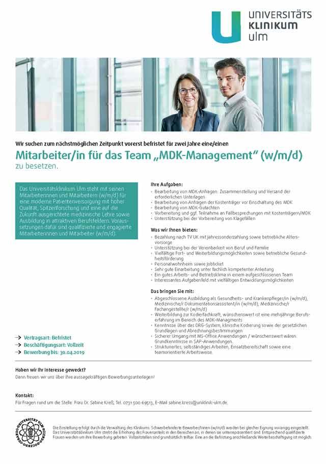 Universitätsklinikum Ulm: Mitarbeiter MDK-Management (w/m/d)