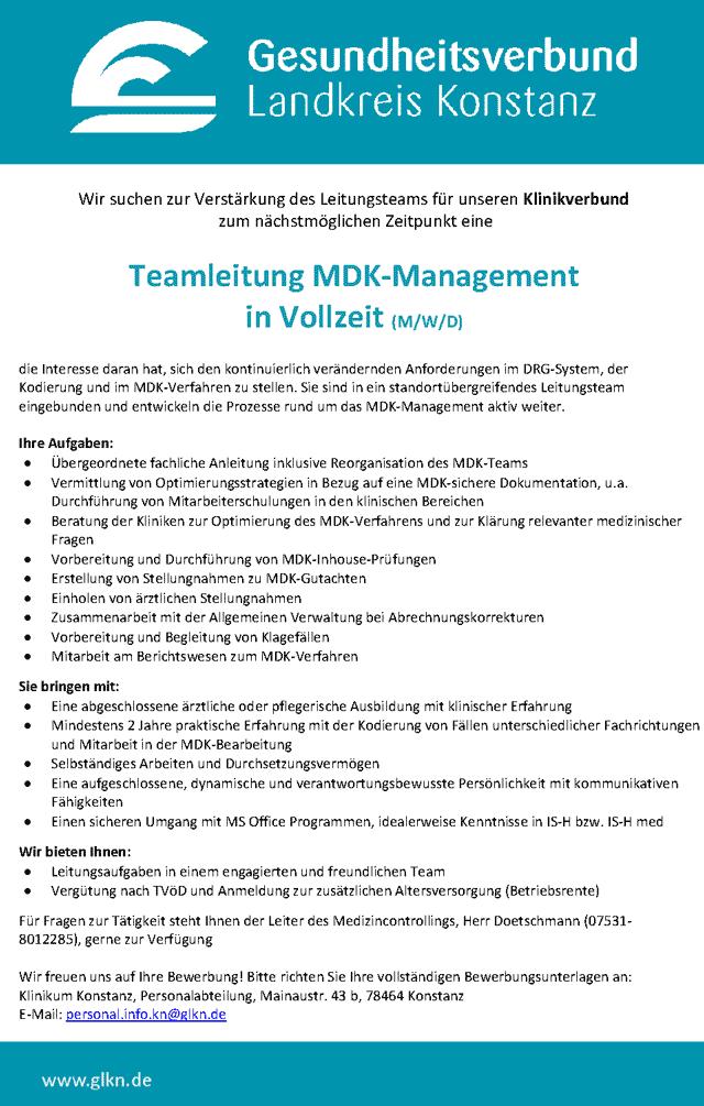 Gesundheitsverbund Landkreis Konstanz: Teamleitung MDK-Management (m/w/d)