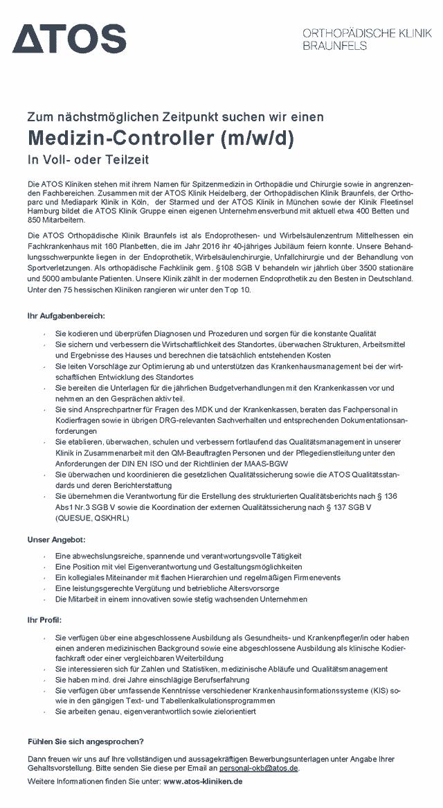 ATOS Orthopädische Klinik Braunfels: Medizin-Controller (m/w/d)