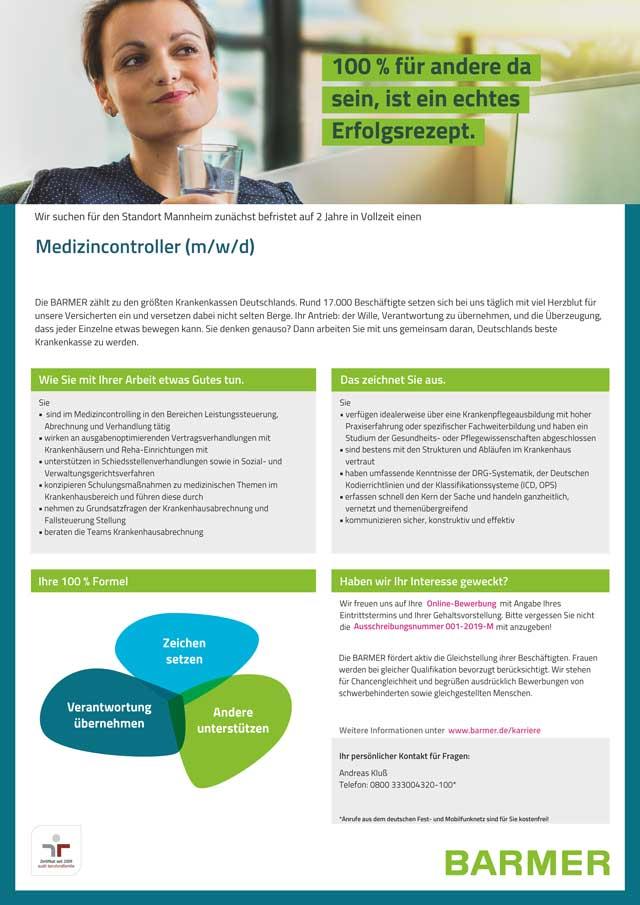 Barmer Mannheim: Medizincontroller (m/w/d)