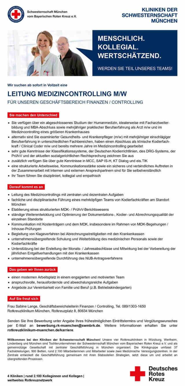 Kliniken der Schwesternschaft München: Leitung Medizincontrolling (m/w)
