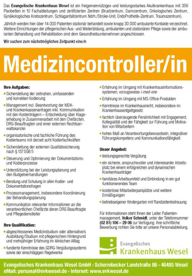 Evangelisches Krankenhaus Wesel GmbH: Medizincontroller (m/w)
