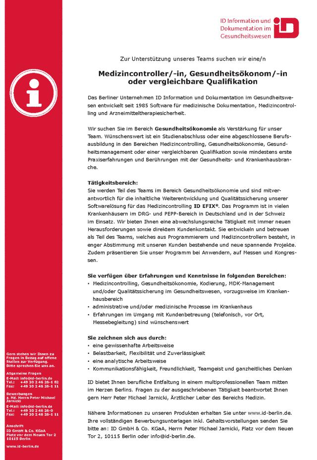 ID GmbH Berlin: Medizincontroller / Gesundheitsökonom (m/w/d)