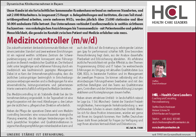 HCL Health Care Leaders Personalberatung: Medizincontroller (m/w/d)
