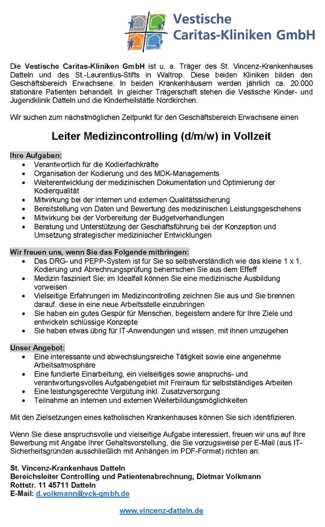 Vestische Caritas-Kliniken GmbH, Datteln: Leitung Medizincontrolling (d/m/w)
