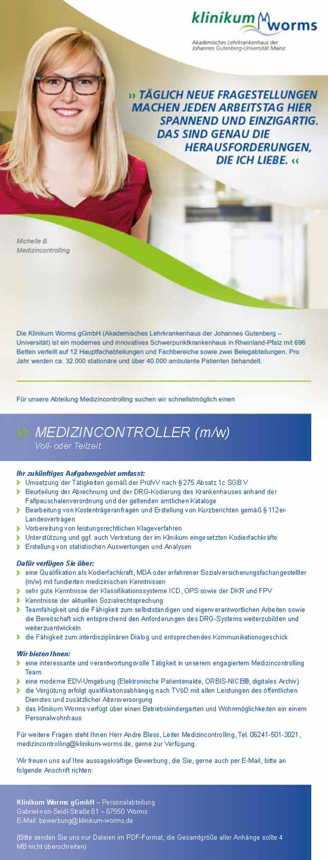 Klinikum Worms gGmbH: Medizincontroller (m/w)