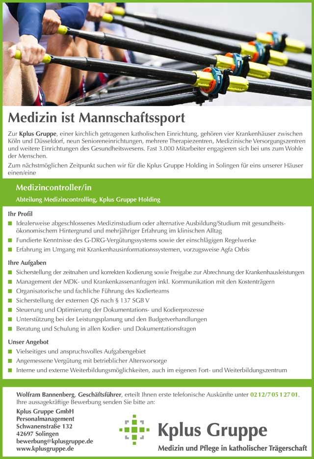 Kplus Gruppe Solingen GmbH: Medizincontroller (m/w)