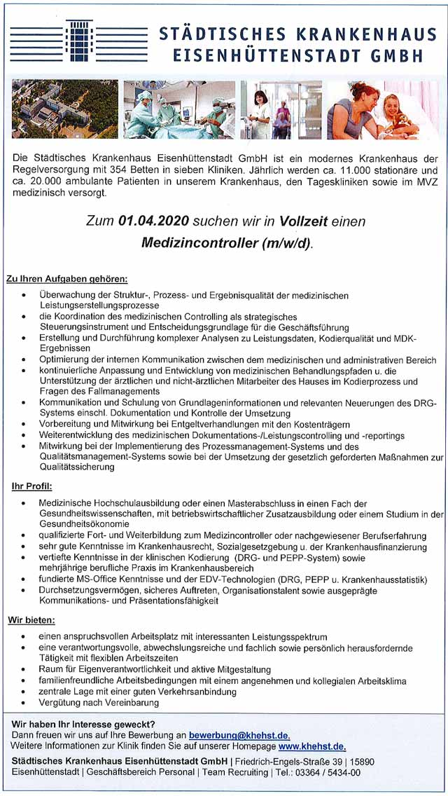 Städtisches Krankenhaus Eisenhüttenstadt GmbH: Medizincontroller (m/w/d)