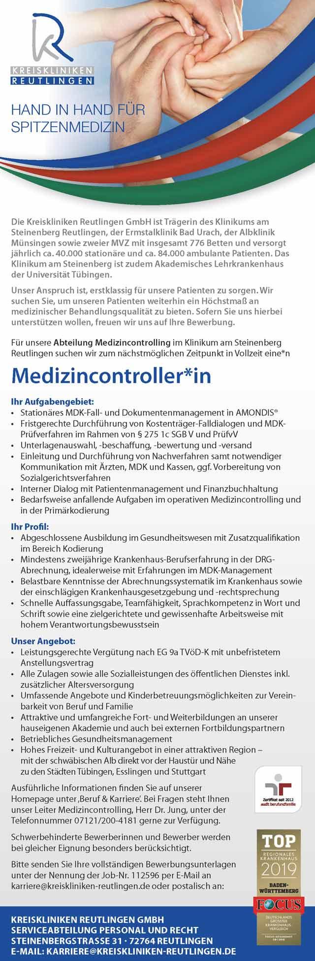 Kreiskliniken Reutlingen GmbH: Medizincontroller (m/w/d)